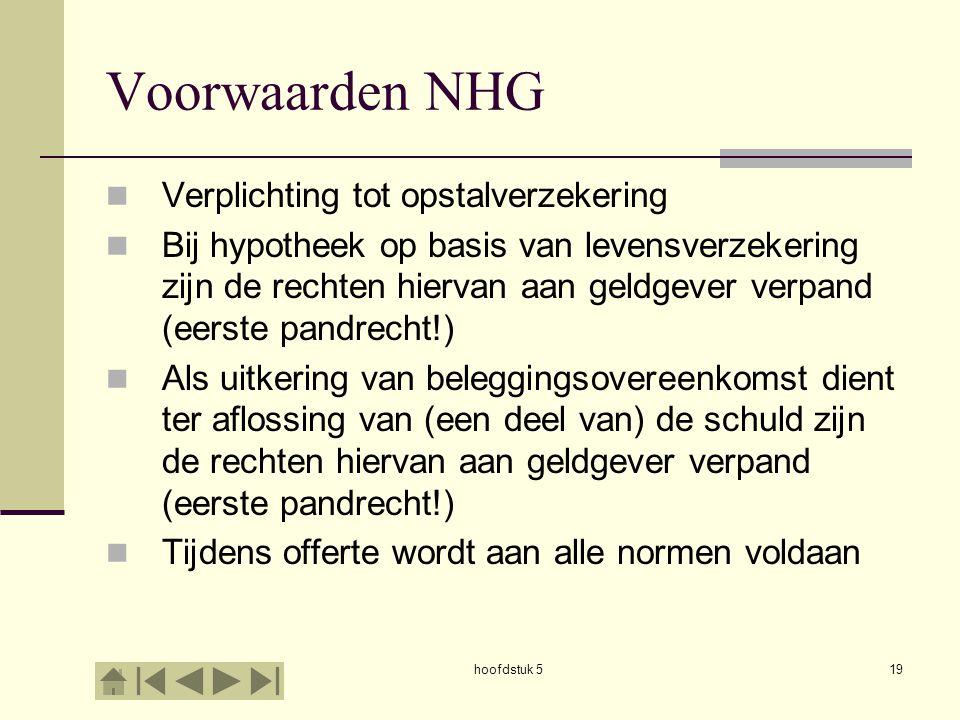 hoofdstuk 519 Voorwaarden NHG  Verplichting tot opstalverzekering  Bij hypotheek op basis van levensverzekering zijn de rechten hiervan aan geldgeve