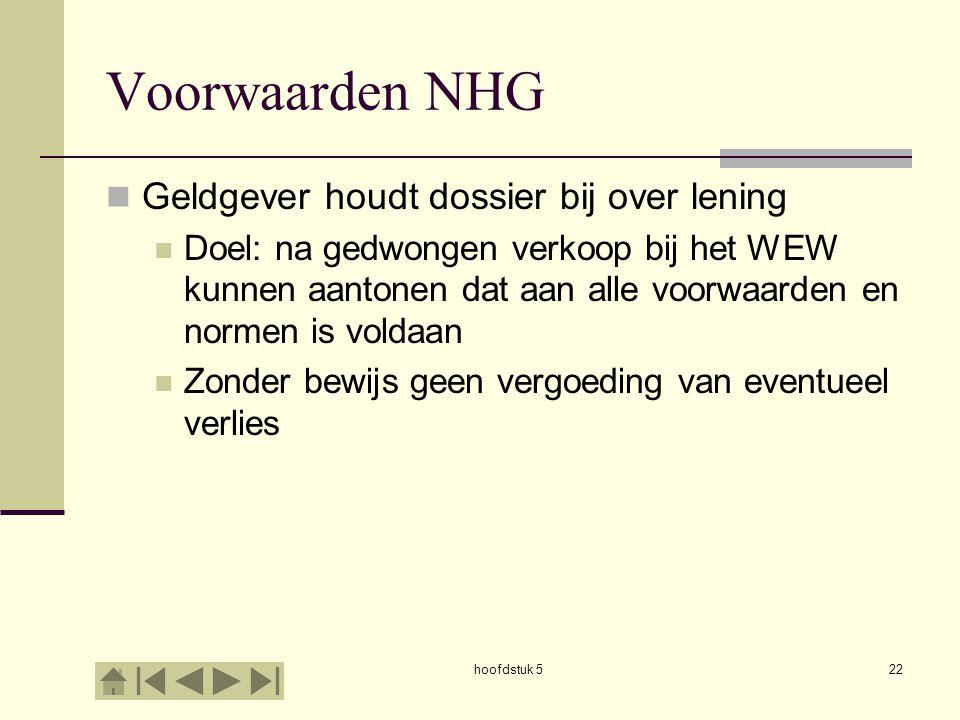 hoofdstuk 522 Voorwaarden NHG  Geldgever houdt dossier bij over lening  Doel: na gedwongen verkoop bij het WEW kunnen aantonen dat aan alle voorwaar