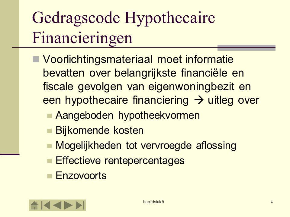 hoofdstuk 54 Gedragscode Hypothecaire Financieringen  Voorlichtingsmateriaal moet informatie bevatten over belangrijkste financiële en fiscale gevolg