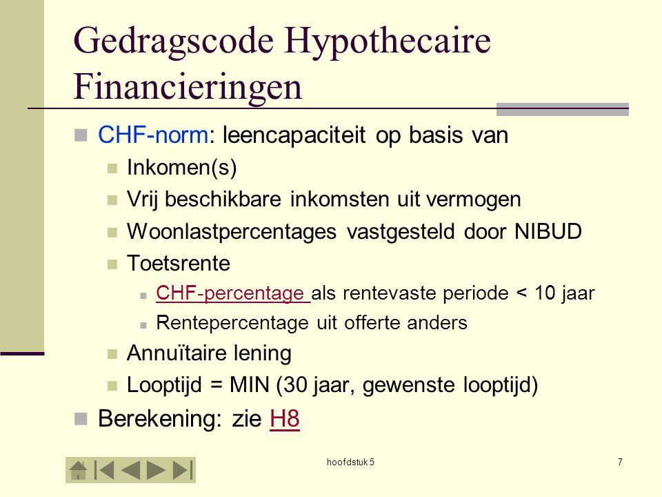 hoofdstuk 57 Gedragscode Hypothecaire Financieringen  CHF-norm: leencapaciteit op basis van  Inkomen(s)  Vrij beschikbare inkomsten uit vermogen 
