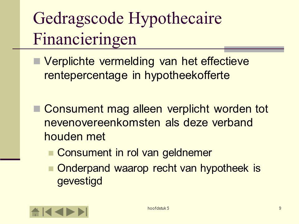 hoofdstuk 59 Gedragscode Hypothecaire Financieringen  Verplichte vermelding van het effectieve rentepercentage in hypotheekofferte  Consument mag al