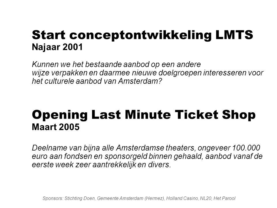 Start conceptontwikkeling LMTS Najaar 2001 Kunnen we het bestaande aanbod op een andere wijze verpakken en daarmee nieuwe doelgroepen interesseren voor het culturele aanbod van Amsterdam.