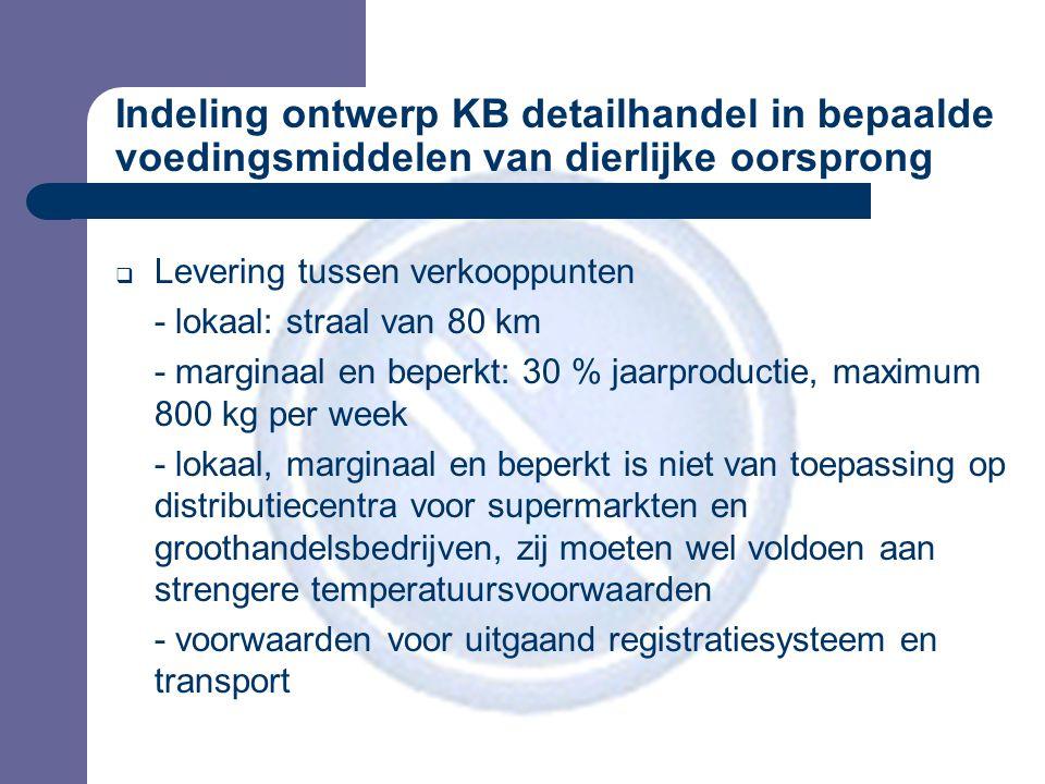 Indeling ontwerp KB detailhandel in bepaalde voedingsmiddelen van dierlijke oorsprong  Levering tussen verkooppunten - lokaal: straal van 80 km - marginaal en beperkt: 30 % jaarproductie, maximum 800 kg per week - lokaal, marginaal en beperkt is niet van toepassing op distributiecentra voor supermarkten en groothandelsbedrijven, zij moeten wel voldoen aan strengere temperatuursvoorwaarden - voorwaarden voor uitgaand registratiesysteem en transport