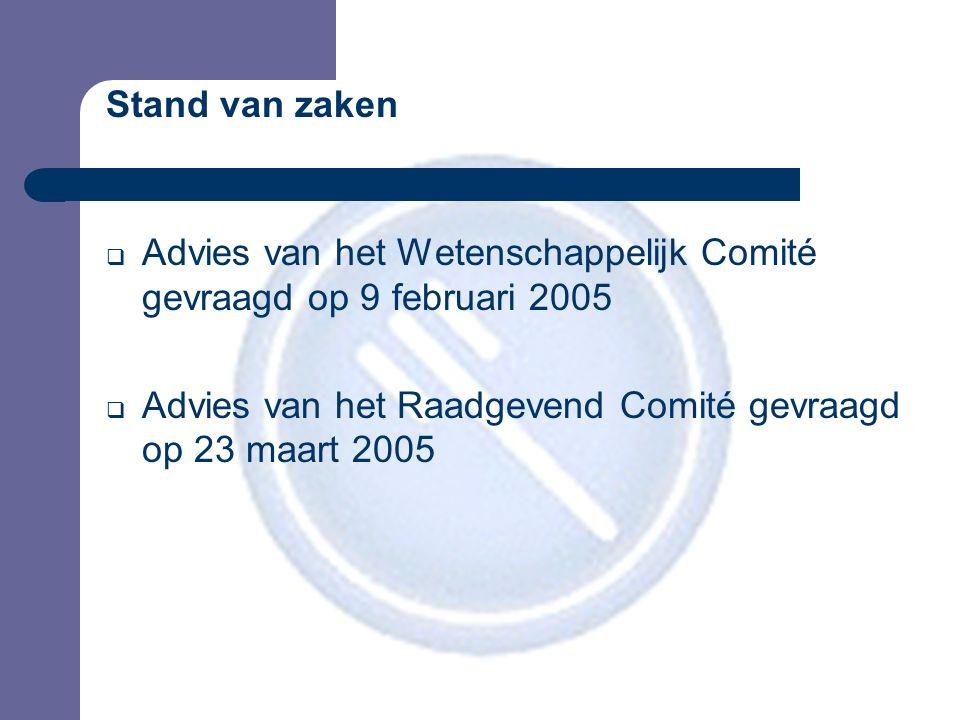 Stand van zaken  Advies van het Wetenschappelijk Comité gevraagd op 9 februari 2005  Advies van het Raadgevend Comité gevraagd op 23 maart 2005