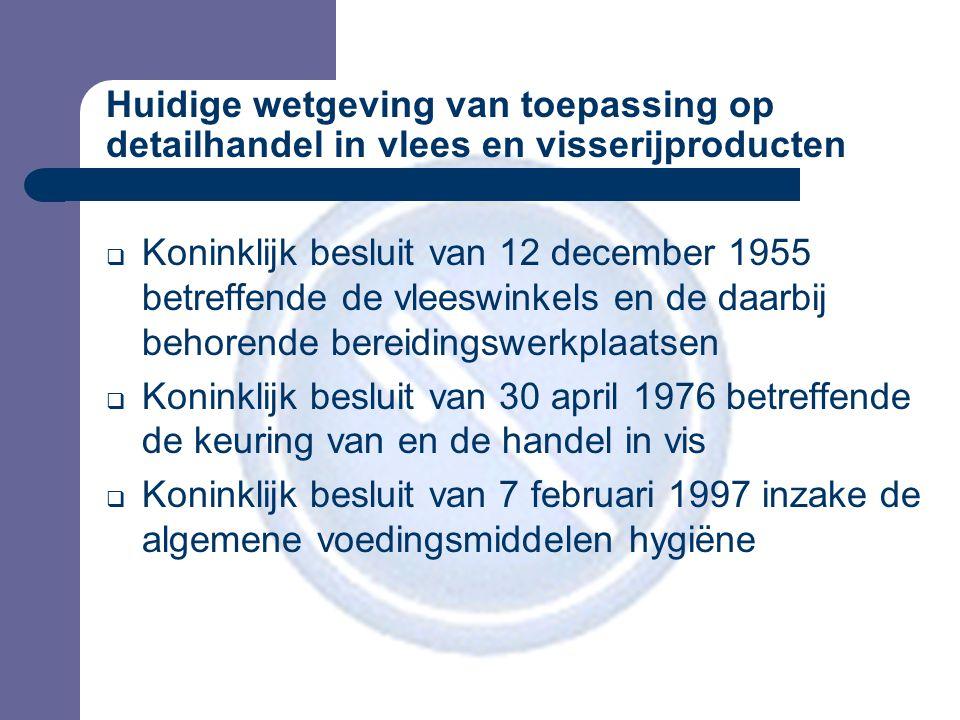 Huidige wetgeving van toepassing op detailhandel in vlees en visserijproducten  Koninklijk besluit van 12 december 1955 betreffende de vleeswinkels en de daarbij behorende bereidingswerkplaatsen  Koninklijk besluit van 30 april 1976 betreffende de keuring van en de handel in vis  Koninklijk besluit van 7 februari 1997 inzake de algemene voedingsmiddelen hygiëne