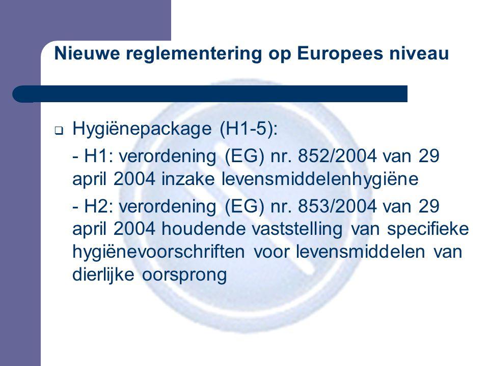 Nieuwe reglementering op Europees niveau  Hygiënepackage (H1-5): - H1: verordening (EG) nr.