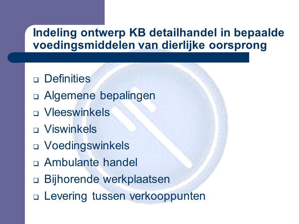 Indeling ontwerp KB detailhandel in bepaalde voedingsmiddelen van dierlijke oorsprong  Definities  Algemene bepalingen  Vleeswinkels  Viswinkels 