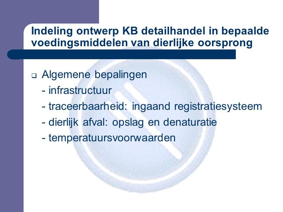 Indeling ontwerp KB detailhandel in bepaalde voedingsmiddelen van dierlijke oorsprong  Algemene bepalingen - infrastructuur - traceerbaarheid: ingaand registratiesysteem - dierlijk afval: opslag en denaturatie - temperatuursvoorwaarden