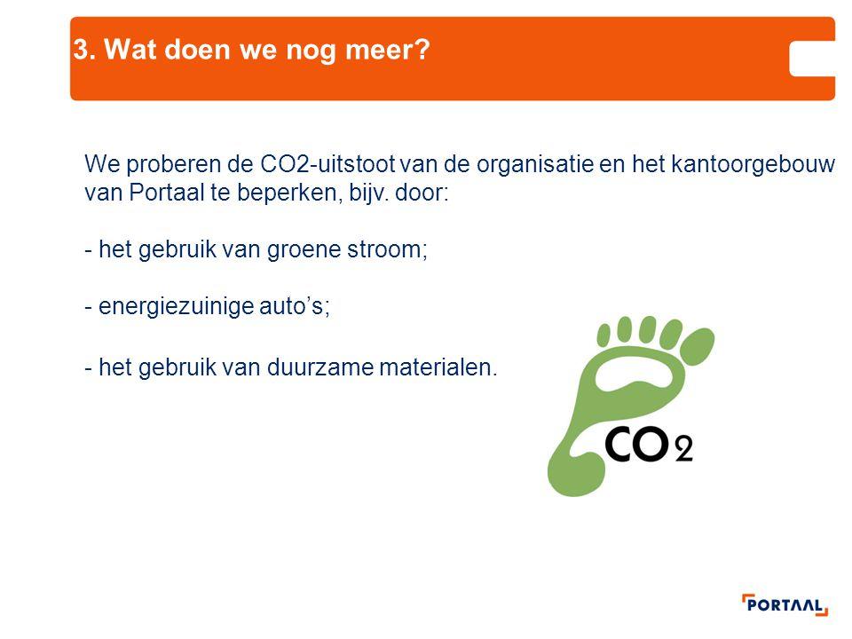 3. Wat doen we nog meer? We proberen de CO2-uitstoot van de organisatie en het kantoorgebouw van Portaal te beperken, bijv. door: - het gebruik van gr