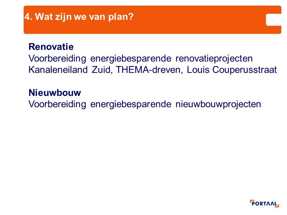 4. Wat zijn we van plan? Renovatie Voorbereiding energiebesparende renovatieprojecten Kanaleneiland Zuid, THEMA-dreven, Louis Couperusstraat Nieuwbouw