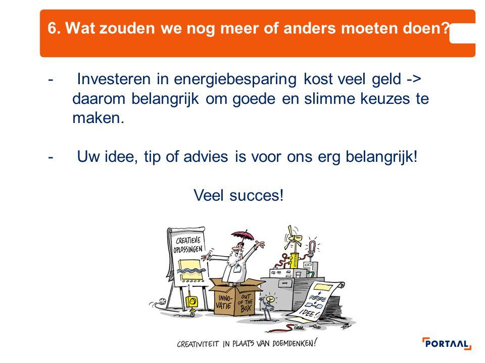 6. Wat zouden we nog meer of anders moeten doen? - Investeren in energiebesparing kost veel geld -> daarom belangrijk om goede en slimme keuzes te mak