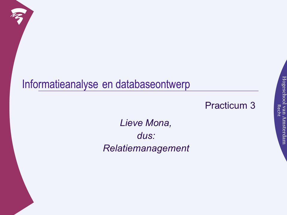 Inhoud Workshop 3  Relationele Databases  Zelf werken aan RD's  Voorbereiden op de opdracht, de casus
