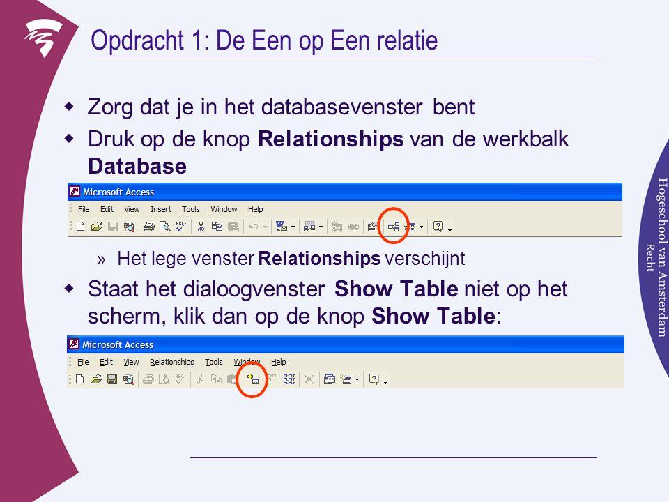  Selecteer de tabel Contactpersonen en klik op Add (toevoegen) »De tabel verschijnt in het venster Relationships  Voeg ook de tabel klanten toe »Misschien komt deze achter het dialoogvenster terecht.