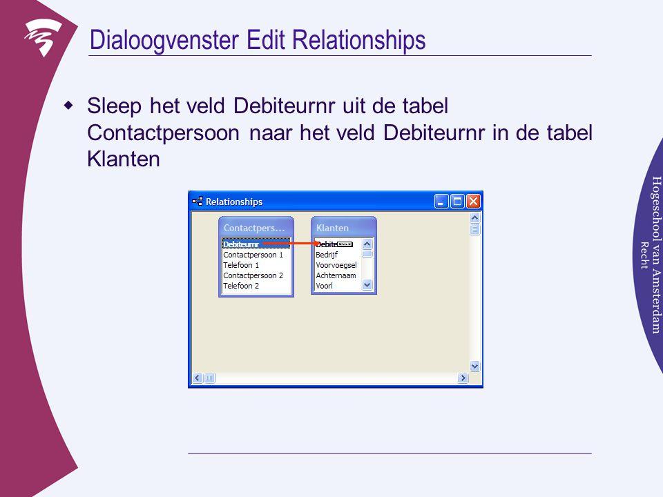  Nu verschijnt het dialoogvenster  Je ziet dat onderin bij het Relationship Type het type 'one to one' staat  Klik op Create