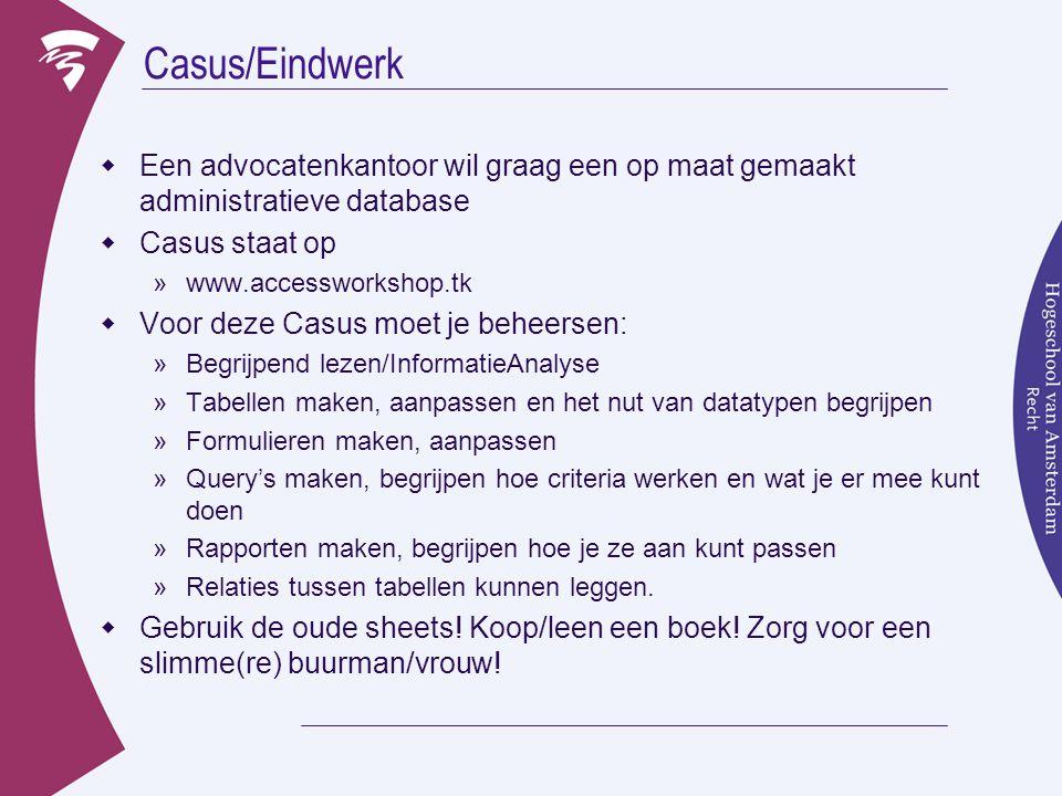 Inleveren Casus  Je werkt alleen, of in tweetallen (aanrader!)  Elk tweetal levert EIGEN werk in.