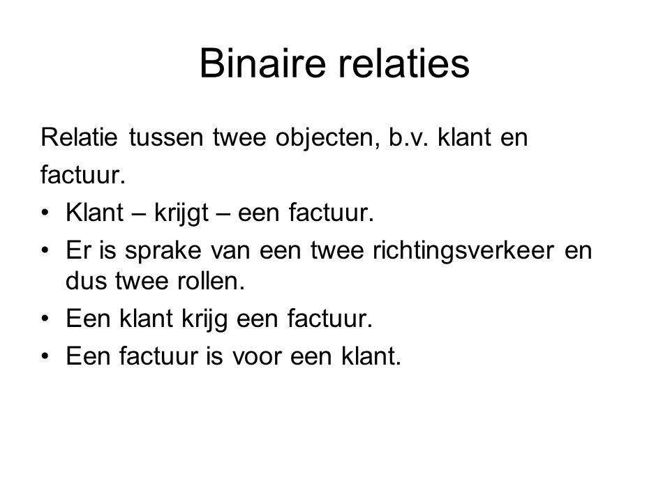 Binaire relaties Relatie tussen twee objecten, b.v. klant en factuur. •Klant – krijgt – een factuur. •Er is sprake van een twee richtingsverkeer en du