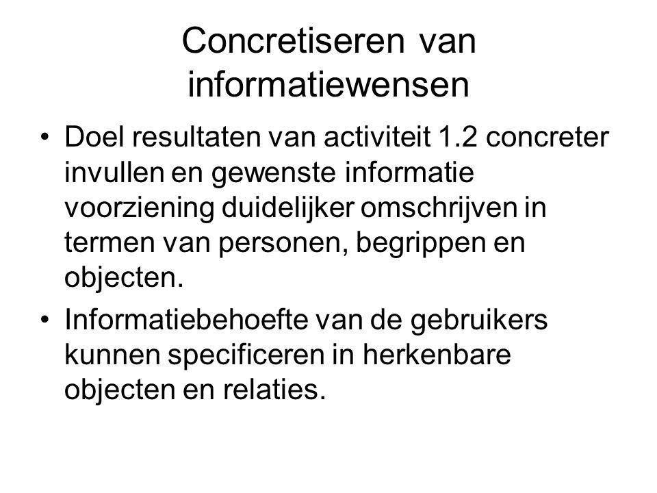 Concretiseren van informatiewensen •Doel resultaten van activiteit 1.2 concreter invullen en gewenste informatie voorziening duidelijker omschrijven i