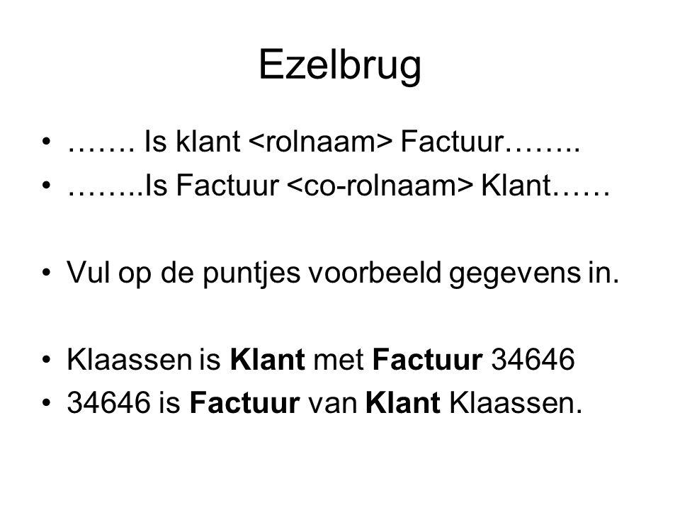 Ezelbrug •……. Is klant Factuur…….. •……..Is Factuur Klant…… •Vul op de puntjes voorbeeld gegevens in. •Klaassen is Klant met Factuur 34646 •34646 is Fa