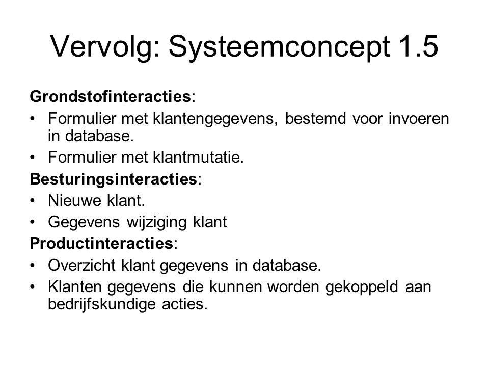 Vervolg: Systeemconcept 1.5 Grondstofinteracties: •Formulier met klantengegevens, bestemd voor invoeren in database. •Formulier met klantmutatie. Best