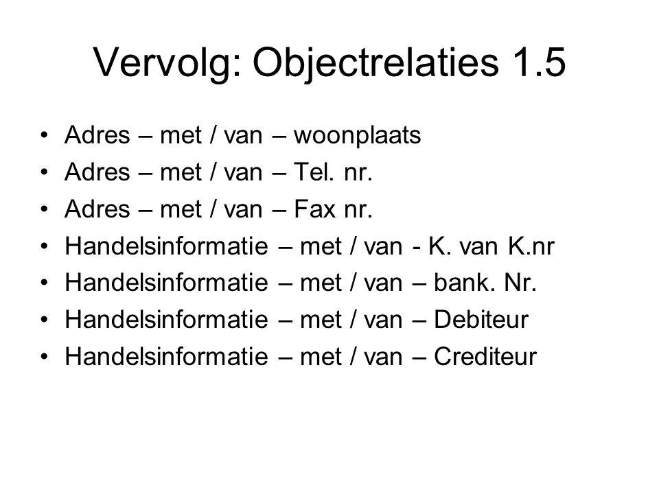 Vervolg: Objectrelaties 1.5 •Adres – met / van – woonplaats •Adres – met / van – Tel. nr. •Adres – met / van – Fax nr. •Handelsinformatie – met / van