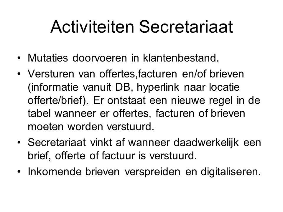 Activiteiten Secretariaat •Mutaties doorvoeren in klantenbestand. •Versturen van offertes,facturen en/of brieven (informatie vanuit DB, hyperlink naar
