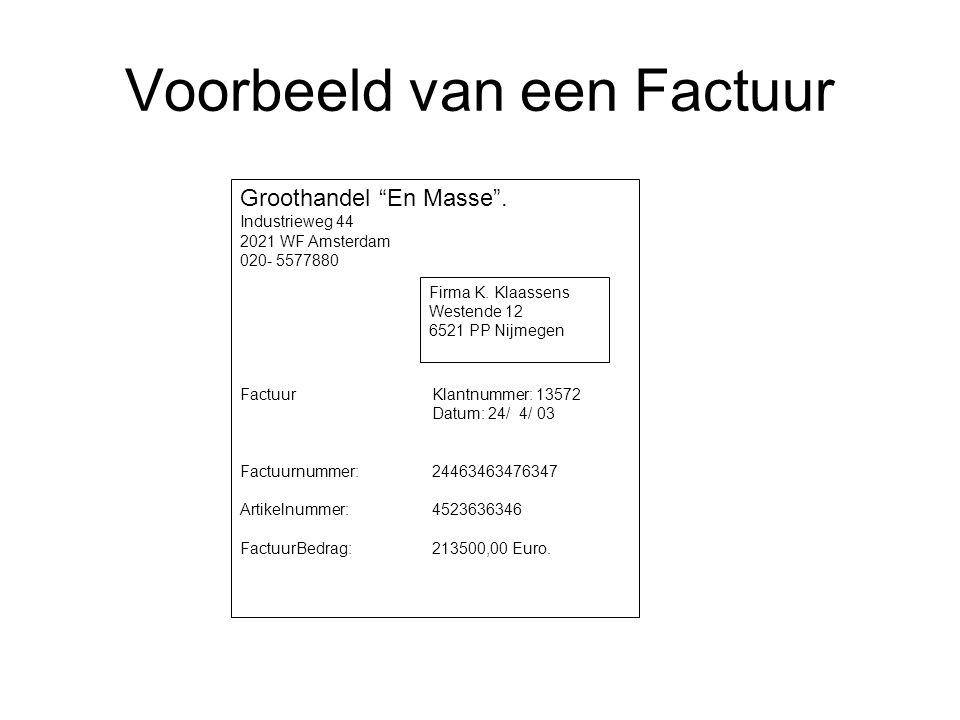 """Voorbeeld van een Factuur Groothandel """"En Masse"""". Industrieweg 44 2021 WF Amsterdam 020- 5577880 Factuur Klantnummer: 13572 Datum: 24/ 4/ 03 Factuurnu"""