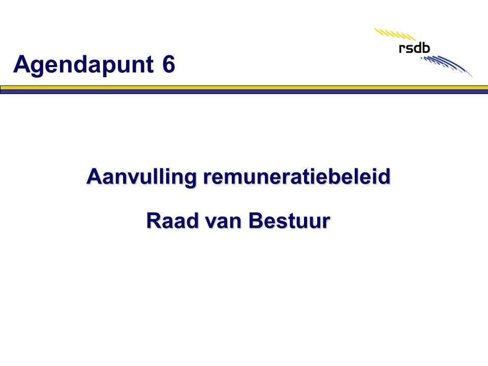 Aanvulling remuneratiebeleid Raad van Bestuur Agendapunt 6