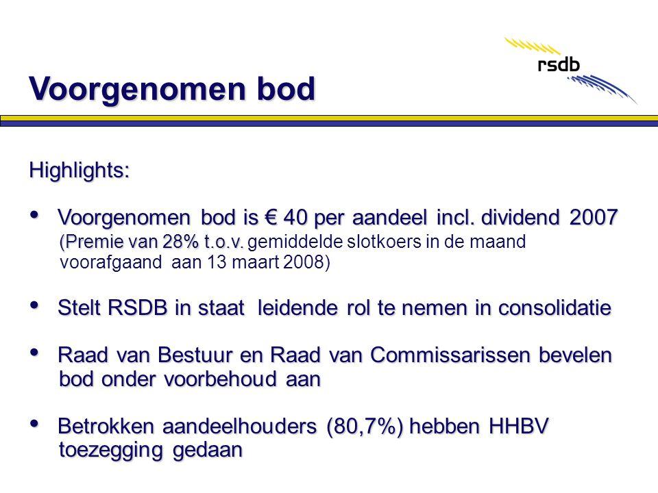 Highlights: • Voorgenomen bod is € 40 per aandeel incl. dividend 2007 (Premie van 28% t.o.v. (Premie van 28% t.o.v. gemiddelde slotkoers in de maand v