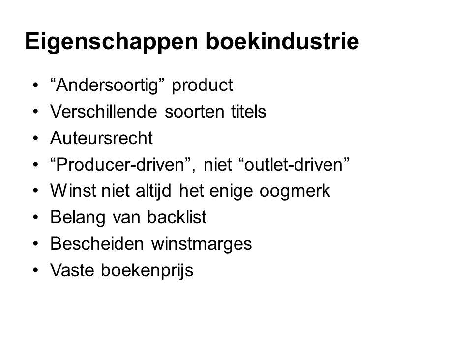• Andersoortig product •Verschillende soorten titels •Auteursrecht • Producer-driven , niet outlet-driven •Winst niet altijd het enige oogmerk •Belang van backlist •Bescheiden winstmarges •Vaste boekenprijs Eigenschappen boekindustrie