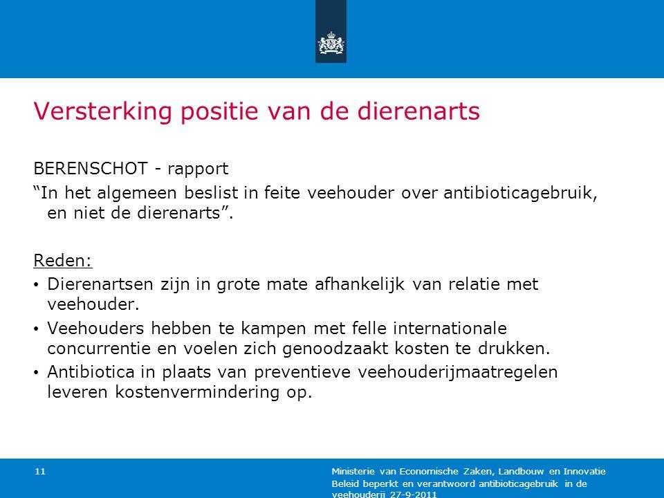 Beleid beperkt en verantwoord antibioticagebruik in de veehouderij 27-9-2011 Ministerie van Economische Zaken, Landbouw en Innovatie 11 Versterking po