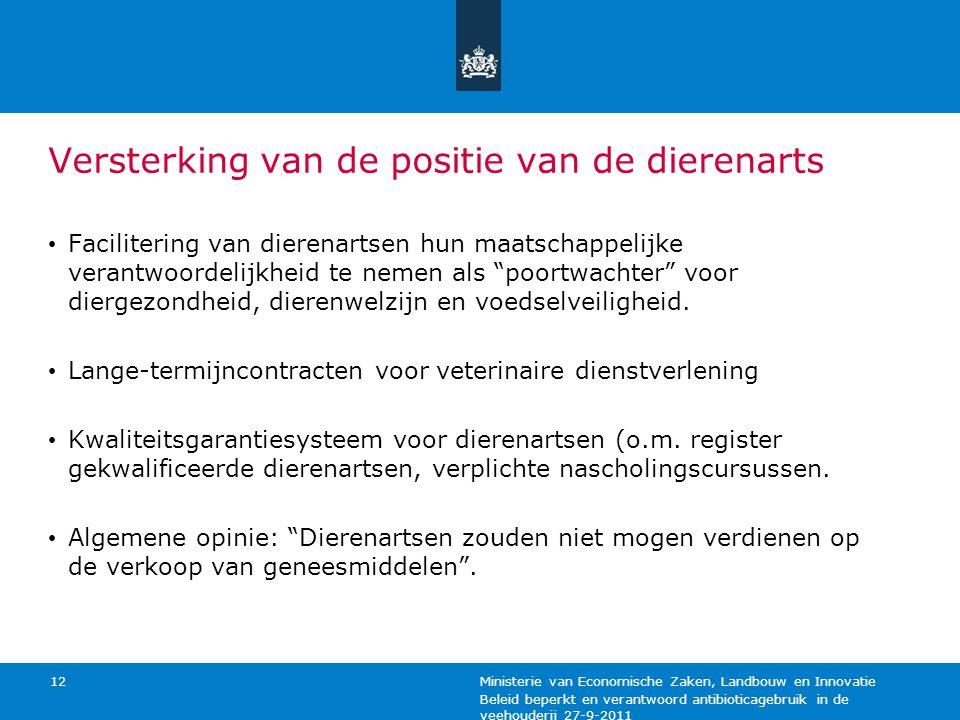 Beleid beperkt en verantwoord antibioticagebruik in de veehouderij 27-9-2011 Ministerie van Economische Zaken, Landbouw en Innovatie 12 Versterking va