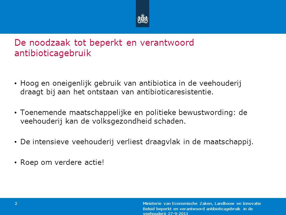 Beleid beperkt en verantwoord antibioticagebruik in de veehouderij 27-9-2011 Ministerie van Economische Zaken, Landbouw en Innovatie 2 De noodzaak tot