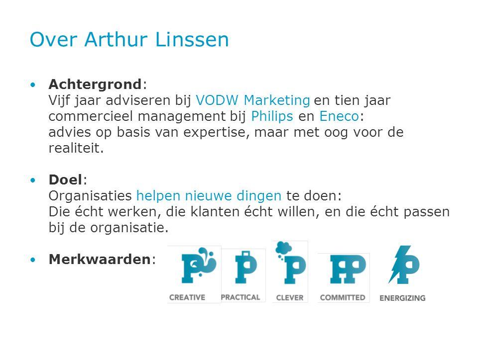Over Arthur Linssen • Achtergrond: Vijf jaar adviseren bij VODW Marketing en tien jaar commercieel management bij Philips en Eneco: advies op basis va