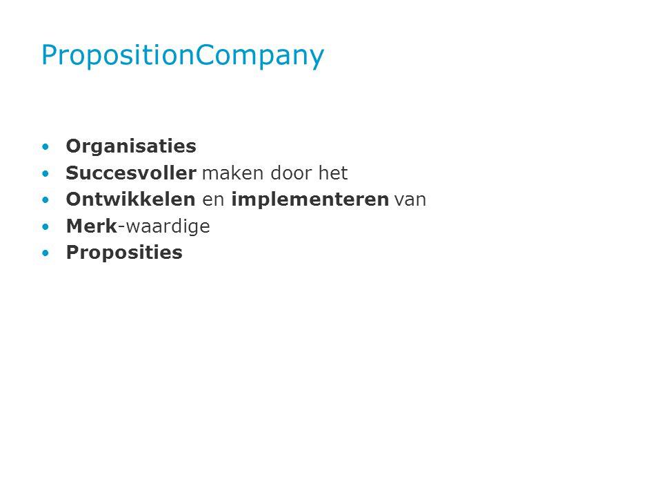 PropositionCompany • Organisaties • Succesvoller maken door het • Ontwikkelen en implementeren van • Merk-waardige • Proposities