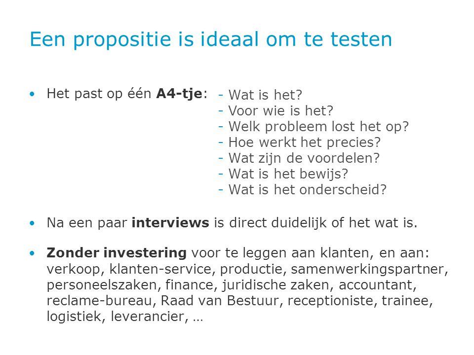 Een propositie is ideaal om te testen • Het past op één A4-tje: • Na een paar interviews is direct duidelijk of het wat is. • Zonder investering voor