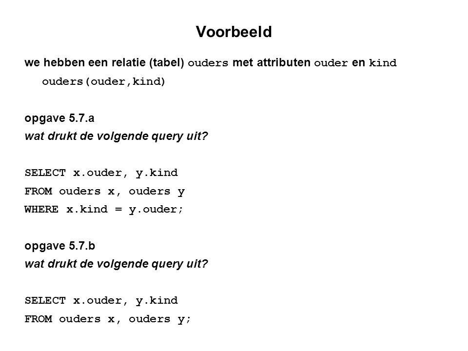 Voorbeeld we hebben een relatie (tabel) ouders met attributen ouder en kind ouders(ouder,kind) opgave 5.7.a wat drukt de volgende query uit.