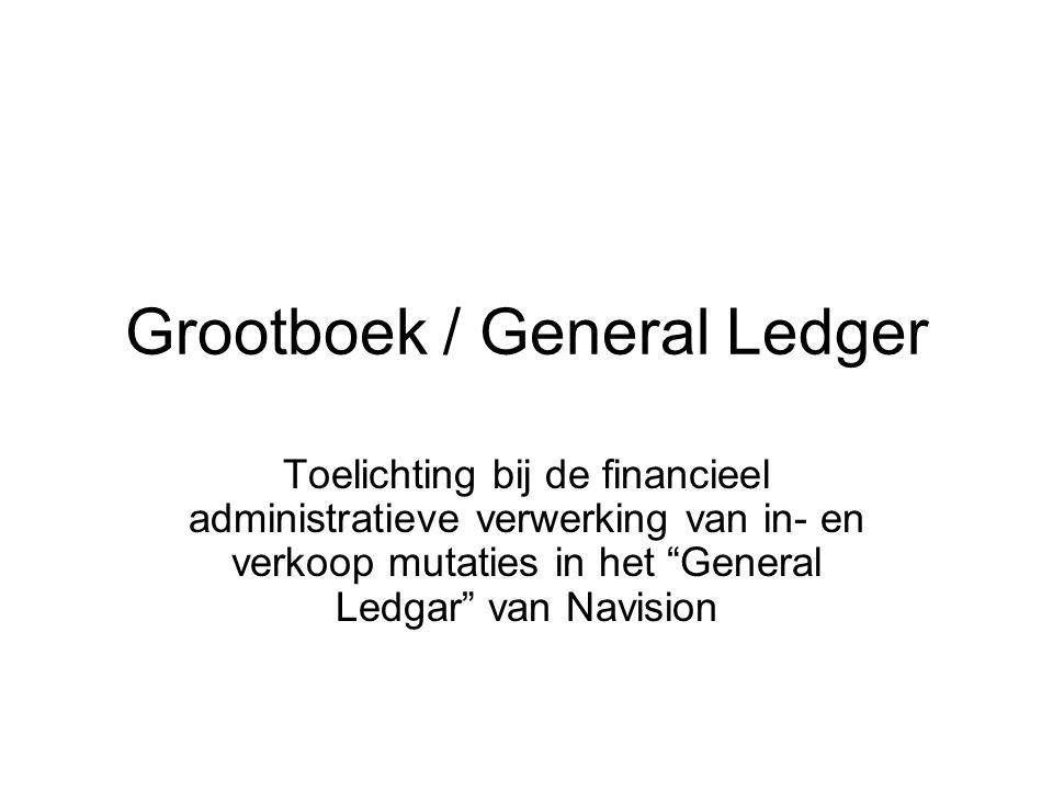 Grootboek / General Ledger Toelichting bij de financieel administratieve verwerking van in- en verkoop mutaties in het General Ledgar van Navision