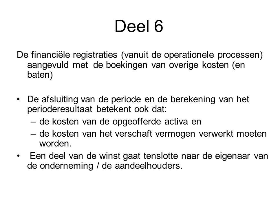Deel 6 De financiële registraties (vanuit de operationele processen) aangevuld met de boekingen van overige kosten (en baten) •De afsluiting van de pe