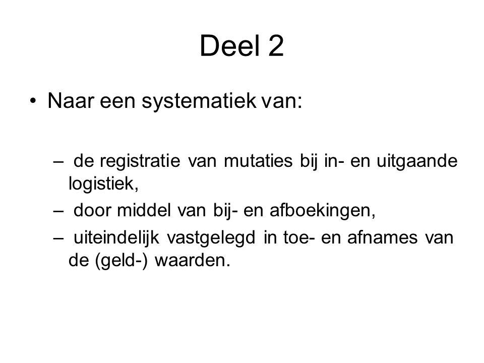 Deel 2 •Naar een systematiek van: – de registratie van mutaties bij in- en uitgaande logistiek, – door middel van bij- en afboekingen, – uiteindelijk