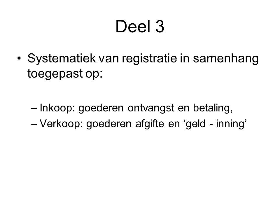 Deel 3 •Systematiek van registratie in samenhang toegepast op: –Inkoop: goederen ontvangst en betaling, –Verkoop: goederen afgifte en 'geld - inning'
