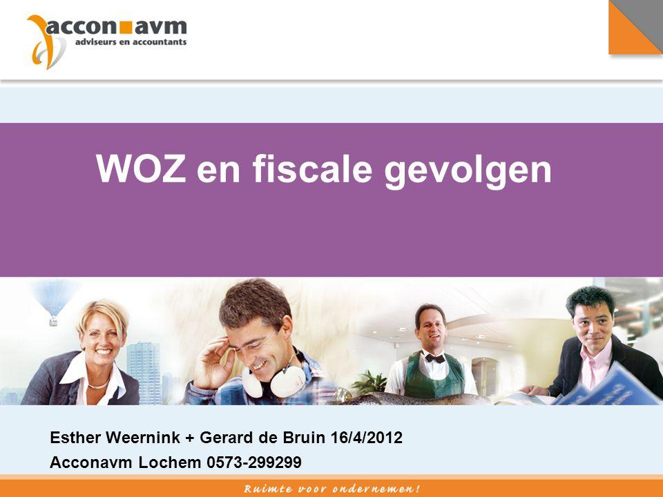 WOZ en fiscale gevolgen Esther Weernink + Gerard de Bruin 16/4/2012 Acconavm Lochem 0573-299299