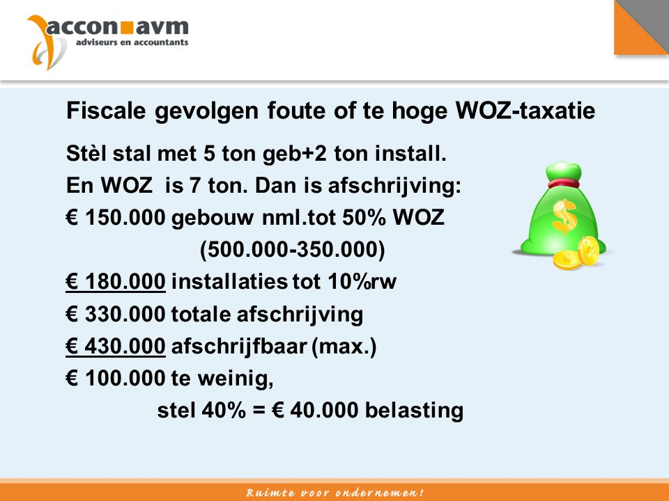 Fiscale gevolgen foute of te hoge WOZ-taxatie Stèl stal met 5 ton geb+2 ton install. En WOZ is 7 ton. Dan is afschrijving: € 150.000 gebouw nml.tot 50
