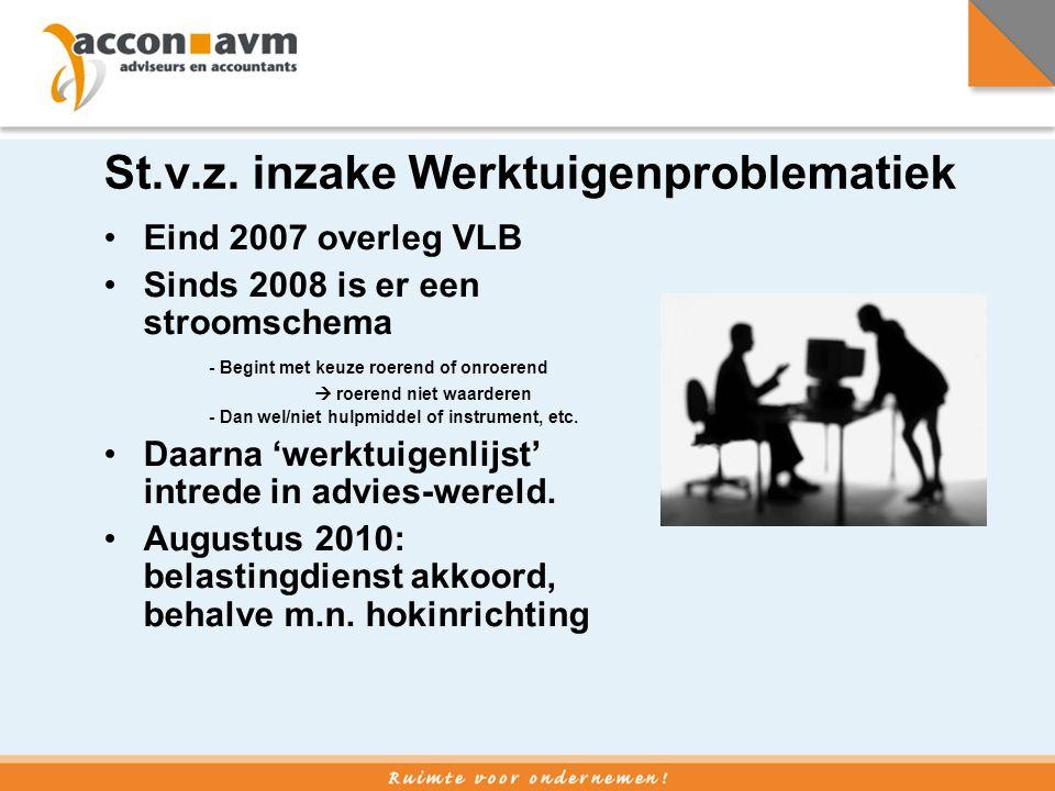 St.v.z. inzake Werktuigenproblematiek •Eind 2007 overleg VLB •Sinds 2008 is er een stroomschema - Begint met keuze roerend of onroerend  roerend niet