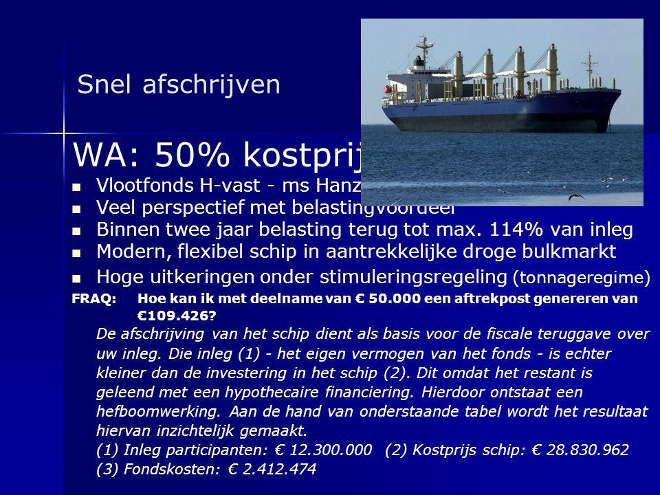 Snel afschrijven WA: 50% kostprijs   Vlootfonds H-vast - ms Hanze Goslar   Veel perspectief met belastingvoordeel   Binnen twee jaar belasting t