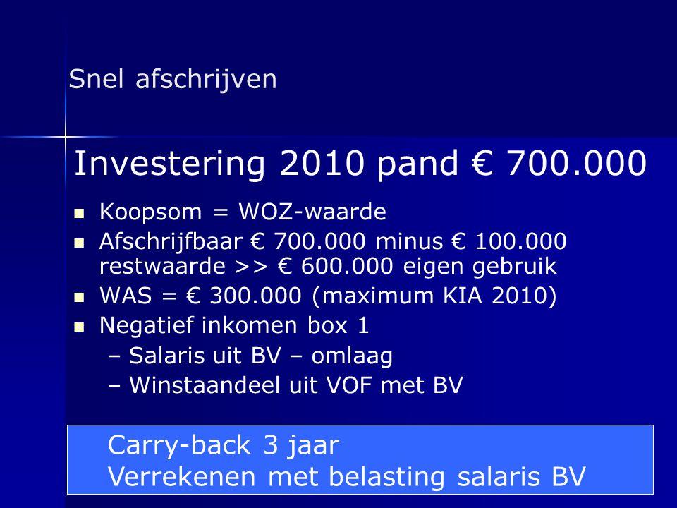 Snel afschrijven Investering 2010 pand € 700.000   Koopsom = WOZ-waarde   Afschrijfbaar € 700.000 minus € 100.000 restwaarde >> € 600.000 eigen ge