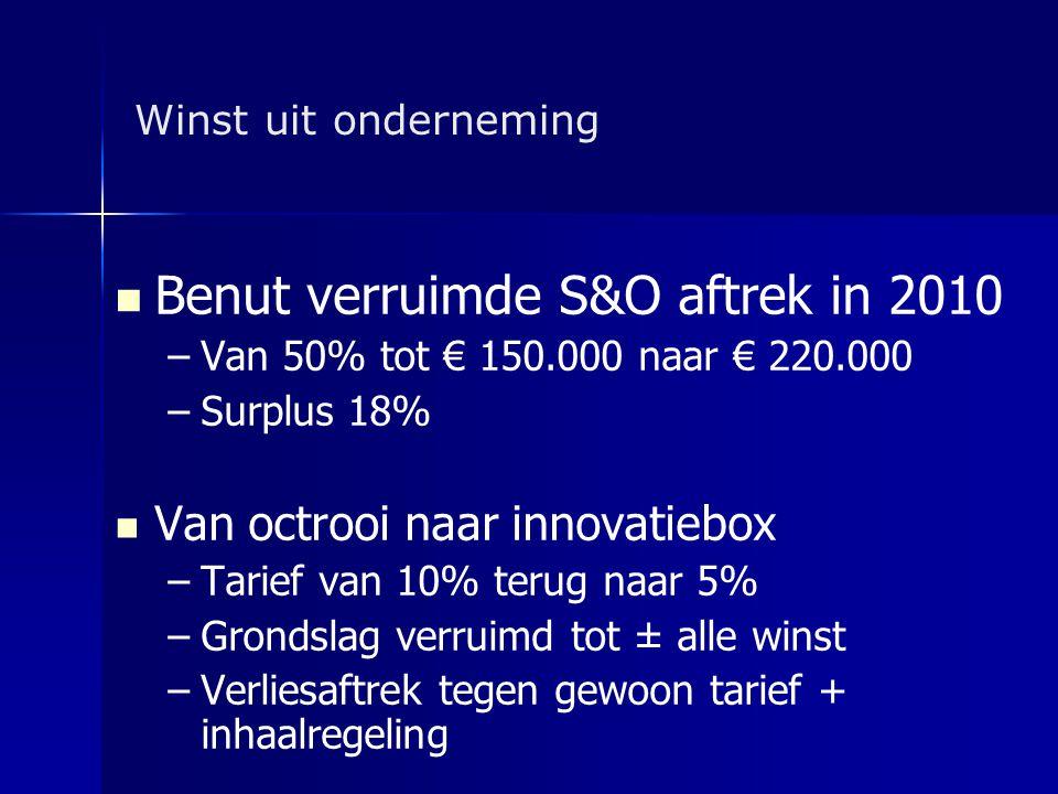 Winst uit onderneming   Benut verruimde S&O aftrek in 2010 – –Van 50% tot € 150.000 naar € 220.000 – –Surplus 18%   Van octrooi naar innovatiebox