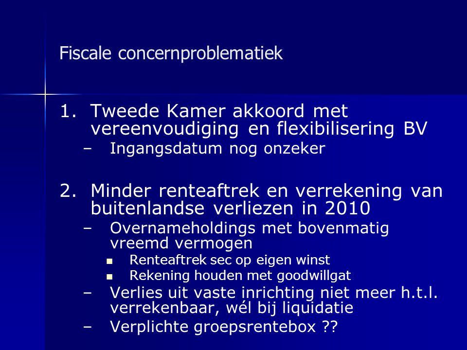 Fiscale concernproblematiek 1.Tweede Kamer akkoord met vereenvoudiging en flexibilisering BV – –Ingangsdatum nog onzeker 2.Minder renteaftrek en verre
