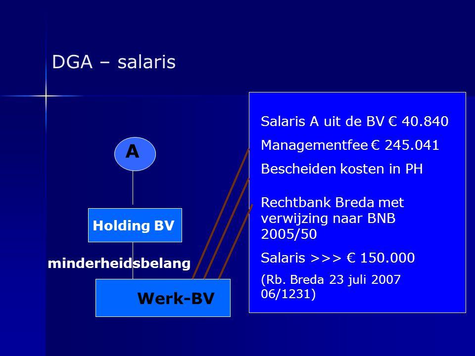DGA – salaris A Holding BV minderheidsbelang Werk-BV Salaris A uit de BV € 40.840 Managementfee € 245.041 Bescheiden kosten in PH Rechtbank Breda met