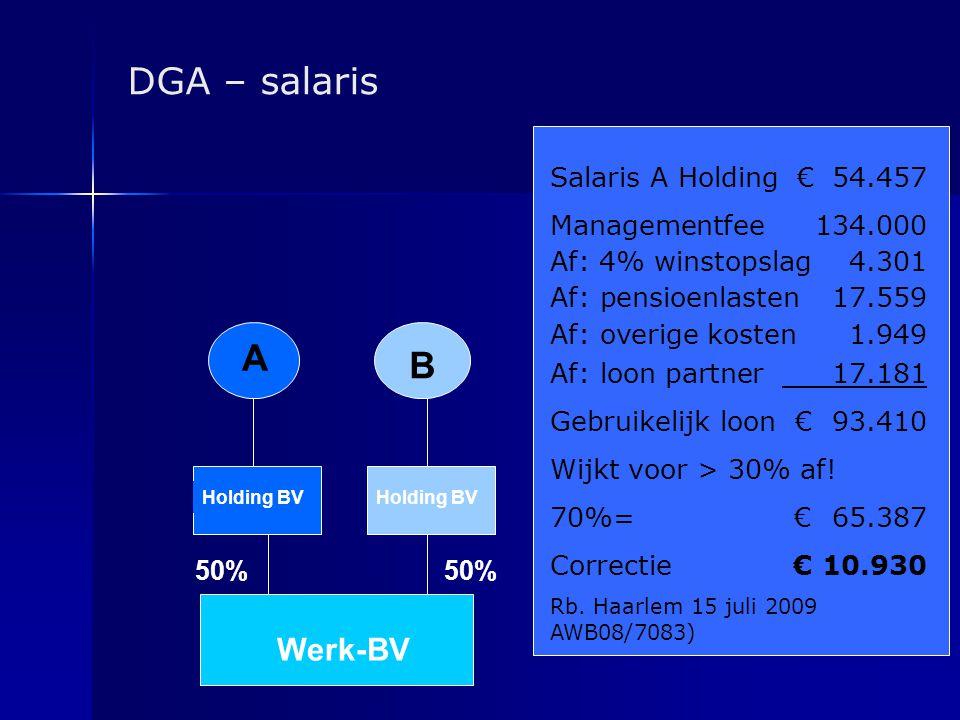 DGA – salaris A Holding BV 50% Werk-BV Salaris A Holding € 54.457 Managementfee 134.000 Af: 4% winstopslag 4.301 Af: pensioenlasten 17.559 Af: overige