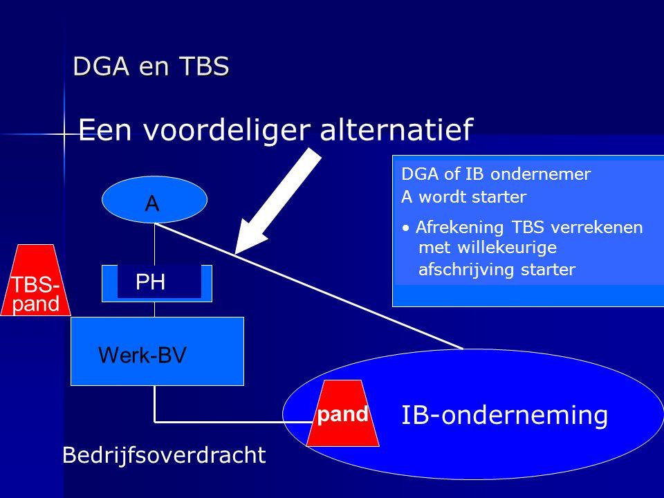 DGA en TBS IB-onderneming A Werk-BV PH DGA of IB ondernemer A wordt starter • Afrekening TBS verrekenen met willekeurige afschrijving starter Bedrijfs